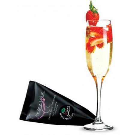 Huile de massage chauffante Fraise Champagne