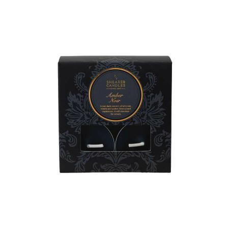 Bougie chauffe-plat noire Ambre x 8
